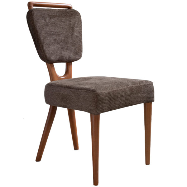 chaise velours marron